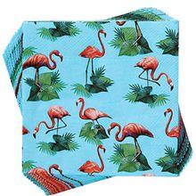BUTLERS Après Papierserviette Flamingos - Serviette Tischserviette Falz - Für Party, Empfang, Cocktail perfekt