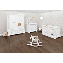Pinolino Komplett Kinderzimmer EMILIA, 3-tlg. (Kinderbett, Wickelkommode und 3-türiger Kleiderschrank), weiß lackiert