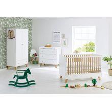 Pinolino Komplett Kinderzimmer PAN, 3-tlg. (Kinderbett, Wickelkommode und 2-türiger Kleiderschrank), Eiche teilmassiv, weiß lackiert
