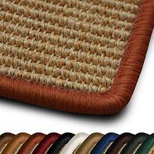 Sisal Teppich myStyle | viele Größen | mit Umkettelung in Wunschfarbe | für modernes und individuelles Wohnen (orange umkettelt, 66x130 cm)