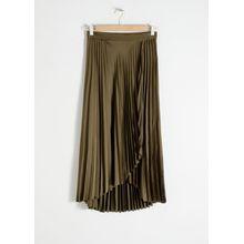 Pleated Wrap Midi Skirt - Green
