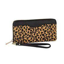 SIX Party weiches schwarzes Portemonnaie mit Animal Print, kleine Handtasche Clutch mit abnehmbarer Hand Schlaufe, Geldbörse, Leopard,Fell (419-912)