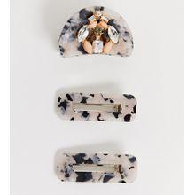 Accessorize - Exclusive - Multipack mit 2 passenden Haarklammern aus Kunstharz in Schildpattoptik und einer verzierten Variante - Mehrfarbig