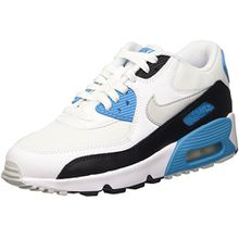 Nike Unisex-Kinder Air Max 90 Mesh (GS) Low-Top, Blau (101 Sail/Neutral Grey-Black), 37.5 EU