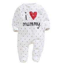 Lanmworn Unisex-Baby Baumwolle Romper Spielanzug Bodysuit,(Ich liebe Mama Papa)Neugeborene lange Ärmel Eingewickelt Overall Taste Jumpsuit Strampler Onesie.