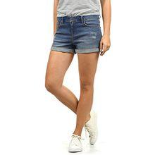 Blend She Andreja Damen Jeans Shorts Kurze Denim Hose Mit Destroyed-Optik Aus Stretch-Material Skinny Fit, Größe:L, Farbe:Medium Blue Washed (29052)
