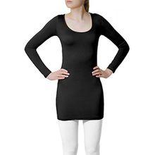 CASPAR SRT012 Damen Basic Longshirt, Farbe:schwarz;Größe:M/L