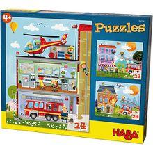 Puzzleset 3 x 24 Teile - Kleine Feuerwehr