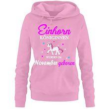 Einhorn Königinnen wurden im November geboren ! Damen HOODIE Sweatshirt mit Kapuze Pink, Gr.M