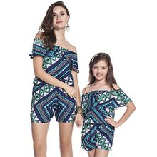 YOUJIA Frauen Mädchen Schulterfrei Gedruckt Jumpsuits Playsuits Shorts Mütter und Tochter Outfits (Geometrisch, S)