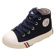 VECJUNIA Kinder Jungen und Mädchen Klassisch Schnürsenkel Hohe Unisex Sneaker Outdoor und Sport Schuhe Blau 28 EU