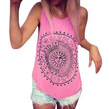 FEITONG Damen Beiläufige Sommer Sun Drucken Ärmellos Bluse Weste T-Shirt Tank Tops (M, Heißes Rosa)