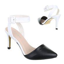 Ital-Design High Heel Damen-Schuhe Pfennig-/Stilettoabsatz Moderne Pumps Schwarz Weiß, Gr 37, Gm2045-