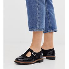 New Look Wide Fit - Schwarze Mary-Jane-Schuhe aus Wildlederimitat, weite Passform - Schwarz