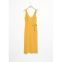 Tortoise O-Ring Wrap Midi Dress - Yellow