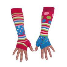 Fingerlose Armstulpen. Set mit 2 verschiedenen farbigen ungerade Armstulpen Mädchen.