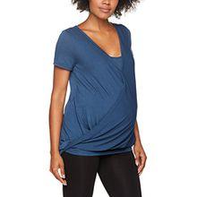 MAMALICIOUS Damen Umstandstop Mljaqline Tess S/S Jersey Top NF V, Blau (Dark Denim Dark Denim), 42 (Herstellergröße:XL)