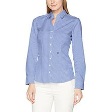 Seidensticker Damen Bluse Hemdbluse Langarm Slim Fit Gemustert Bügelfrei, Mehrfarbig (Karo Blau/Weiß 19), 38
