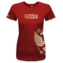 Jayess WM 2018 - Russland - Russia - Adler Gold - Fanshirt - Damen T-Shirt in Rot by Gr. M