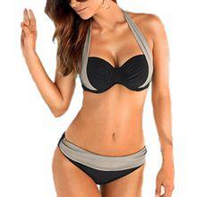 Arrowhunt Damen Mädchen Neckholder Push Up Bikini Set- Schwarz Und Grau, Label S/ DE 32