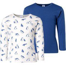 PETIT BATEAU Unterhemden Doppelpack blau / weiß