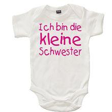Baby & Kleinkind baby body White 47-62 'Ich Bin die Kleine Schwester' with Pink Glitter Print