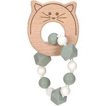 Greifling und Beißring mit Silikonkette, 2 in 1, Holz/Silikon, Little Chums Cat grün