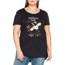 Junarose Damen Jrtokyo SS T-Shirt, Schwarz (Black Beauty Detail:W. EMB), 46 (Herstellergröße: Oversize L)