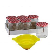 Viva Haushaltswaren 6 x großes Marmeladenglas/Einmachglas 425 ml mit Deckel, Twist-off Gläser Set rund - als Einweckgläser, Vorratsdosen etc. verwendbar (inkl. Trichter)