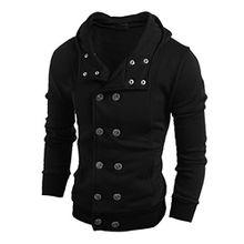 Herren Sweatjack,Dasongff Mode Herren V-Ausschnitt Schalkragen Hoodie Sweatshirt Knopfmantel Knopf Manteljacke (XL, Schwarz)
