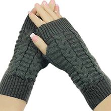 Bluelans® Strick Armstulpen Pulswärmer fingerlos Handschuhe Damenhandschuhe Winterhandschuhe Fäustlinge Fausthandschuhe (Dunkelgrau)
