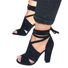 Minetom Sandalen Damen Riemchen Sandaletten High Heels Party Blockabsatz Shoes Elegante Abendschuhe Übergröße Mode Casual Schuhe Sommer B Schwarz EU 35