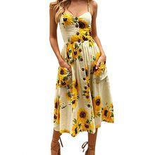 Damen Sommer Floral böhmischen Sleeveless Kleider Strap Button Down Swing Midi Kleid mit Taschen