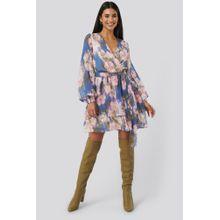 NA-KD Trend Belted Chiffon Dress - Multicolor
