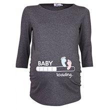 Happy Mama Damen T-Shirt Babyfüßchen Druck Oberteil für Schwangere. 549p (Graphit, EU 42/44)