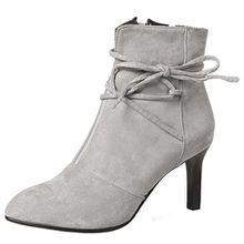 AIYOUMEI Damen Nubukleder Stiletto Stiefeletten mit Schnürung und 7cm Absatz Elegant Abend Herbst Winter Schuhe