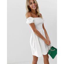 ASOS DESIGN - Mini-Hängerkleid aus Baumwolle mit Raffung am Rumpf und eckigem Ausschnitt - Weiß