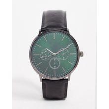 ASOS DESIGN – Schwarze Uhr mit grünem Zifferblatt
