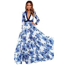 BBring Damen Kleider, Frauen Sommer Boho V-Ausschnitt Blumendruck Kleid Lange Maxi Party Kleid Sommerkleider Strandkleider (Blau, S)