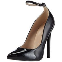 Pleaser Devious SEXY-23, Damen Knöchelriemchen Pumps, Schwarz (Blk Pat), 37 EU (4 Damen UK)