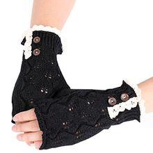 Bluelans® Armstulpen Pulswärmer fingerlos Handschuhe Damenhandschuhe Winterhandschuhe Fäustlinge Fausthandschuhe (Schwarz)