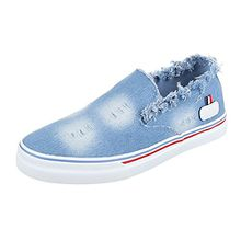 Slipper Damen-Schuhe Low-Top Moderne Ital-Design Halbschuhe Blau, Gr 39, Kk-35-