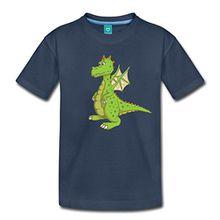 Spreadshirt Comic Kleiner Drache Kinder Premium T-Shirt, 122/128 (6 Jahre), Navy