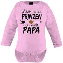 Mikalino Babybody Ich hab meinen Prinzen und er heißt Papa langarm, Farbe:rosa;Grösse:62
