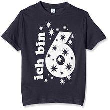 Coole-Fun-T-Shirts Jungen T-Shirt Ich Bin 6 Jahre!, Gr. One Size (Herstellergröße: 128cm/6 Jahre), Weiß (Weiss-Navy)