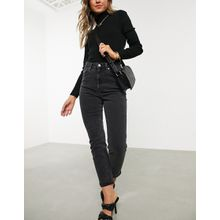 ASOS DESIGN - Farleigh - Schmale Mom-Jeans mit hohem Bund in verwaschenem Schwarz - Schwarz