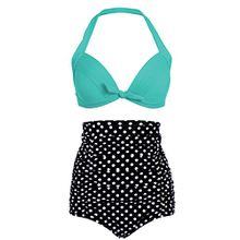Polka Dot Pünktchen Retro PinUp Vintage Damen Bikini mit hoher Taille und türkisem Oberteil (2-tlg. Set) – Gr. L