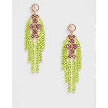 ASOS DESIGN – Statement-Ohrringe mit farbigem Kettendesign und Kristallanhängern-Mehrfarbig