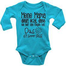 Mikalino Babybody langarm Meine Mama denkt echt, dass sie hier das sagen hat. , Farbe:atoll, Grösse:74