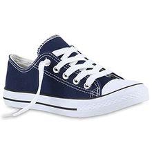 Kinder Sneakers Sport Denim Stoff Schnürer Sneaker Low Turn Schuhe 139986 Dunkelblau 30 Flandell
